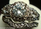 Gorgeous 2pcs Vintage Style 2.31ctw CZ Engagement Wedding Ring set 18K GP size10