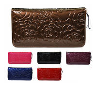 Rose Flower patent leather Leather Woman Lady Wallet Clutch Bag Purse Checkbook