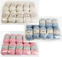 5/10 PACK SET BABY CARE PINK WHITE WOOL CRAFT YARN KNITTING 100% POLYESTER 100g