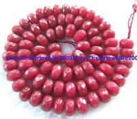 """5x8mm Red Jade Rondelle Faceted Gemstone Beads 15"""""""