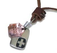 N103 Herren Halskette Lederkette DOG TAG SURFERKETTE Leather Necklace Men
