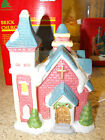 "Porcelain Christmas Village Church 6.75"" Lighted - Our town Collection"