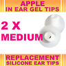 2x Silicone Replacement Medium Gel Tips for Apple In Ear Buds Earphone Headphone