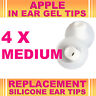4x Silicone Replacement Medium Gel Tips for Apple In Ear Buds Earphone Headphone