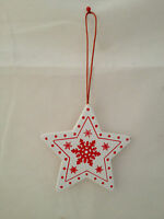 Christmas Decorations - Star Shaped - Printed Design - Wooden Decorations x8