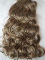 "17-19"" Clip in Hair Extensions Curly Wavy Dark Sand Full Head 8PCS"