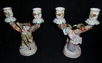 Pair of 19th century Ernst Bohne & Son porcelain Boy/Girl  candlesticks in vgc
