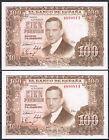 PAREJA BILLETES 100 PESETAS 1953 R. DE TORRES - SIN SERIE S/C UNC