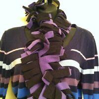 Boa Fringe Fleece Scarf ~ Black & Purple
