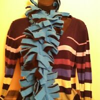 Boa Fringe Fleece Scarf ~ Teal & Black