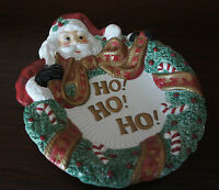 "Fitz & Floyd Essentials Santa HO HO HO candy dish plate-9 1/2"" x 8"""