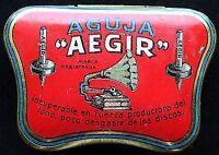 Antique Litho German  Phonograph Needle  Box,    Aguja  AEGIR
