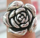SOLID 925 STERLING SILVER OXIDISED ROSE FLOWER & LEAF RING SIZE J TO X 1/2 Lady