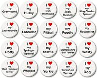 """I Love My... Dog (Various Breeds) - 1"""" / 25mm Button Badge - Cute Novelty Heart"""