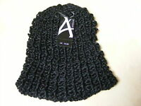 WOMENS LADIES BLACK CHUNKY KNITTED BEANIE HAT - ONE SIZE - BRAND NEW