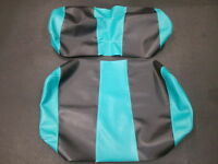 EZ-GO TXT Golf Cart Custom Deluxe Seat Covers-Front & Rear(Teal w/Black Stripes)