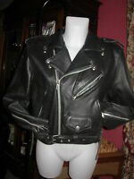 blouson cuir noir ROCK MOTARD MOTO veste jacket coat bomber leather black  S M ?