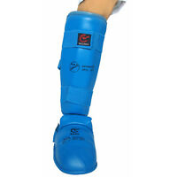 EKF Approved Karate Competition Shin Insteps BLUE Pads Foot Feet Guards