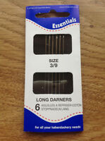 Pack of 6 Long Darning / Darners needles - size 3/9 - whitecroft essentials