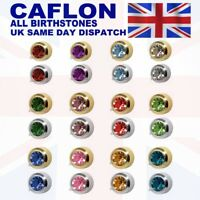 CAFLON BIRTHSTONES GOLD PLATED & STEEL BEZEL SET EAR PIERCING STUD EARRINGS
