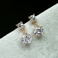 18K Rose Gold Plated Simulated Diamond 1.25 Carat Round Cut Stud Earrings