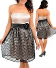 B53 New Ladies Size 16/18 Black Lace Strapless Wedding Evening Race Party Dress