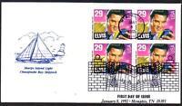 Elvis Presley #2721 Chesapeake Cachet FDC Block of 4 Music Cancel UA(LOT 313)