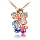Swarovski Multi-color Crystal 18K Rose Gold GP Necklace