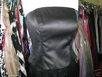 DEBUT/DEBENHAMS BLACK STITCH BRIDESMAID/EVENING/PROM/GOTH BASQUE/BUSTIER 12/14