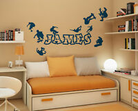 Personalised Name Boys Wall Art Sticker - Skate Park, Skateboarders, Skaters,
