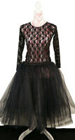 Gothic-Steampunk-Cosplay-Burlesque Romantic BLACK LONG TUTU SKIRT All Sizes