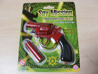 SMALL RED 8 SHOT DIE CAST METAL TOY COWBOY CAP GUN PISTOL REVOLVER FANCY DRESS