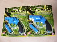 2 x SMALL BLUE 8 SHOT DIE CAST METAL TOY COWBOY CAP GUNS / PISTOL / REVOLVER GUN