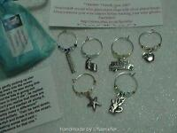 Teacher wine glass charm set 6 Thankyou gift for school