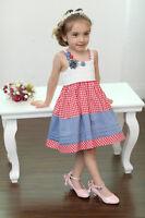 BNWT Girls Sleeveless Summer Party Dress Red White Check  2-3 3-4 4-5 5-6 6-7YRS
