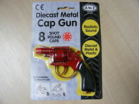KIDS CHILDRENS SMALL RED METAL TOY CAP GUN TAKES 8 SHOT RED PLASTIC RING CAPS