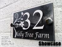 MODERN HOUSE SIGN DOOR PLAQUE NUMBER ACRYLIC DESIGNER PERSPEX FREE P&P