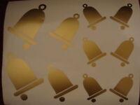 10 x Christmas Bell Bells Sticker, Crafting, Scrapbooking, Window, Decoration