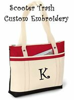 PERSONALIZED Tote bag book shopping RED monogrammed NEW Teacher Anchor Nurse