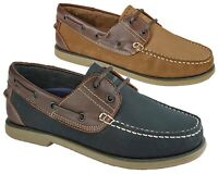Mens Leather Nubuck Two Tone Leather Lined Casual  Boat Deck Shoes Size 6-12