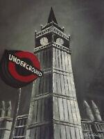 london underground large original oil painting canvas cityscape black white red