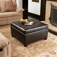 Tufted Espresso Brown Leather Storage Ottoman Coffee Table