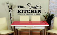Personalized Family Name Kitchen Wall Art Quote Vinyl Sticker Decal