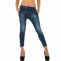 Jeanshose Damen Trendy Used Boyfriend Hüfthose Jeans Hose Skinny Blau