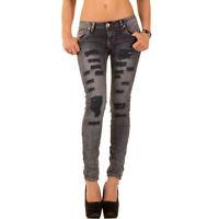 Jeanshose Damen Trendy Mozzaar Destroyed Knitter Jeans Hose Skinny Grau