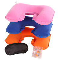 3 in1 Inflatable Travel U shape Neck Pillow+Eye Mask+Ear Plugs
