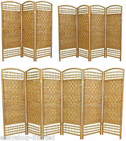 3/4/5/6 Panel Brown Wicker Room Divider Separator Privacy Screen Hand Made Home