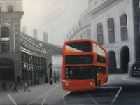 london street oil painting canvas black white cityscape red bus modern original