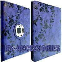 For APPLE IPAD 2 3 Case Wallet Cover Smart Rotation Floral Design Style Back GB