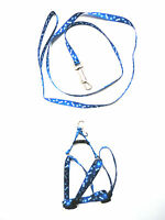 Small dog harnesses dog leash step in dog harness Pet Collar Accessories-Blue